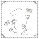 Numeral one with flowers, leaves and butterflies. Coloring page. Vector illustration Stock Images