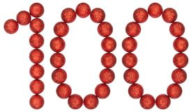 Numeral 100, one hundred, from decorative balls, isolated on whi. Te background Stock Photography