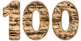 Numeral 100, one hundred,  on white, natural limestone, Stock Photo