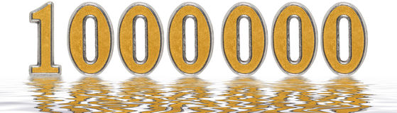 Numeral 1000000, one million, reflected on the water surface, is. Olated on white, 3d render royalty free illustration