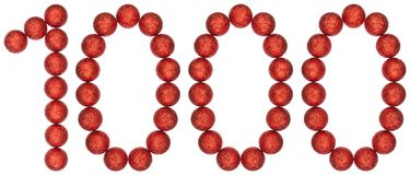 Numeral 1000, one thousand, from decorative balls, isolated on w. Hite background Royalty Free Stock Photo