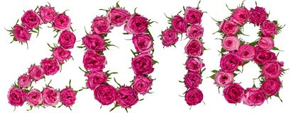 Numeral 2018 from red flowers of rose, isolated on white background stock images