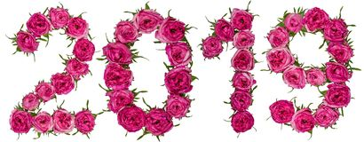 Numeral 2019 from red flowers of rose, isolated on white background royalty free stock images