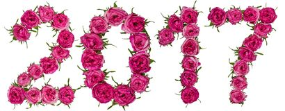 Numeral 2017 from red flowers of rose, isolated on white background royalty free stock photos