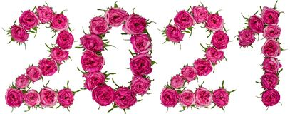 Numeral 2021 from red flowers of rose, isolated on white background stock image