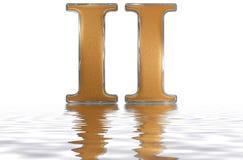 Numeral romano II, duo, 2, dois, refletidos na superfície da água, i Imagens de Stock Royalty Free