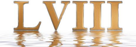 Numeral romano LVIII, octo e quinquaginta, 58, cinquenta e oito, refl Imagem de Stock Royalty Free