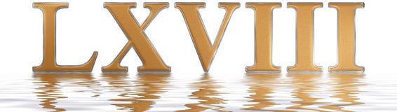 Numeral romano LXVIII, octo e sexaginta, 68, sessenta e oito, reflec Foto de Stock Royalty Free