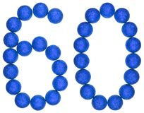 Numeral 60, sessenta, das bolas decorativas, isoladas na parte traseira do branco Imagens de Stock
