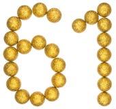 Numeral 61, sessenta uns, das bolas decorativas, isoladas no branco Fotografia de Stock