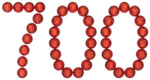 Numeral 700, seven hundred, from decorative balls, isolated on w. Hite background Royalty Free Stock Photo