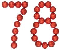 Numeral 78, seventy eight, from decorative balls, isolated on wh. Ite background Stock Photography