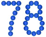 Numeral 78, seventy eight, from decorative balls, isolated on wh Stock Photos