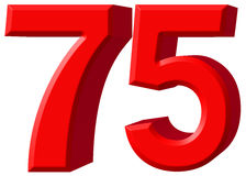Numeral 75, seventy five, isolated on white background, 3d rende Royalty Free Stock Images
