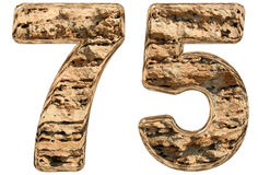 Numeral 75, seventy five,  on white, natural limestone, Stock Images