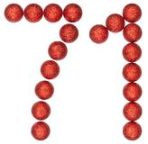 Numeral 71, seventy one, from decorative balls, isolated on whit. E background Royalty Free Stock Images