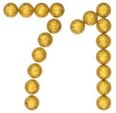 Numeral 71, seventy one, from decorative balls, isolated on whit. E background Royalty Free Stock Photo