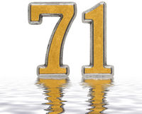 Numeral 71, seventy one, reflected on the water surface, isolate Royalty Free Stock Photography