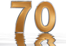 Numeral 70, seventy, reflected on the water surface,  on Stock Image
