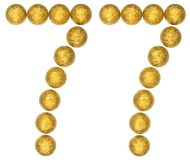 Numeral 77, seventy seven, from decorative balls, isolated on wh. Ite background Royalty Free Stock Image