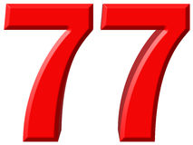 Numeral 77, seventy seven, isolated on white background, 3d rend Stock Photos
