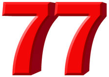 Numeral 77, seventy seven, isolated on white background, 3d rend Stock Images