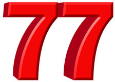 Numeral 77, seventy seven, isolated on white background, 3d rend Royalty Free Stock Image