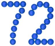 Numeral 72, seventy two, from decorative balls, isolated on whit. E background Royalty Free Stock Images