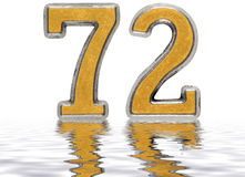 Numeral 72, seventy two, reflected on the water surface, isolate Stock Photography