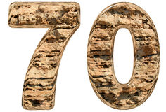 Numeral 70, seventy,  on white, natural limestone, 3d il. Lustration Royalty Free Stock Photography