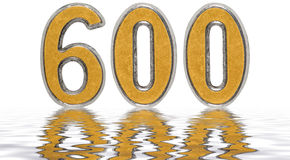 Numeral 600, six hundred, reflected on the water surface, isolat Royalty Free Stock Photography