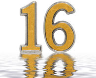 Numeral 16, sixteen, reflected on the water surface, isolated  Stock Photo