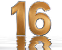 Numeral 16, sixteen, reflected on the water surface,  on Royalty Free Stock Images