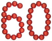 Numeral 60, sixty, from decorative balls, isolated on white back. Ground Royalty Free Stock Photo