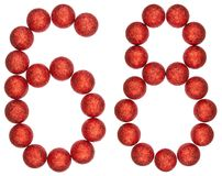 Numeral 68, sixty eight, from decorative balls, isolated on whit. E background Stock Photography