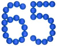 Numeral 65, sixty five, from decorative balls, isolated on white. Background Royalty Free Stock Photo