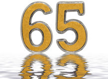 Numeral 65, sixty five, reflected on the water surface,  Royalty Free Stock Photos