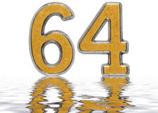Numeral 64, sixty four, reflected on the water surface,  Royalty Free Stock Images