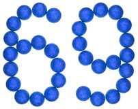 Numeral 69, sixty nine, from decorative balls, isolated on white. Background Stock Photo