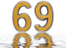 Numeral 69, sixty nine, reflected on the water surface, isolated. On white, 3d render Vector Illustration