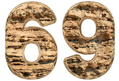 Numeral 69, sixty nine, on white, natural limestone, 3d. Illustration Royalty Free Illustration