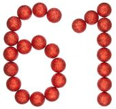Numeral 61, sixty one, from decorative balls, isolated on white. Background Royalty Free Stock Images