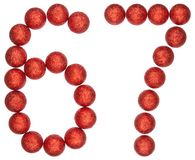 Numeral 67, sixty seven, from decorative balls, isolated on whit Royalty Free Stock Photo