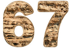 Numeral 67, sixty seven,  on white, natural limestone, 3 Royalty Free Stock Photos