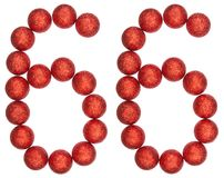 Numeral 66, sixty six, from decorative balls, isolated on white. Background Royalty Free Stock Images