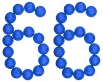 Numeral 66, sixty six, from decorative balls, isolated on white. Background Royalty Free Stock Image