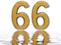 Numeral 66, sixty six, reflected on the water surface, isolated Stock Photo