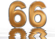 Numeral 66, sixty six, reflected on the water surface,. On  white, 3d render Royalty Free Stock Images