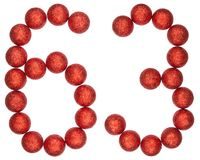 Numeral 63, sixty three, from decorative balls, isolated on whit. E background Royalty Free Stock Photo