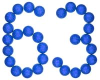 Numeral 63, sixty three, from decorative balls, isolated on whit Royalty Free Stock Image